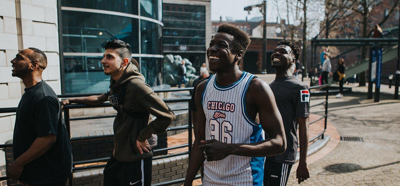 Young people walking through Birmingham